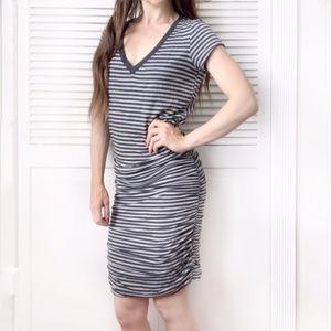 Athleta Topanga Ruched Striped Bodycon Dress